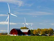 Wind turbine on farm